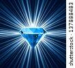 Blue diamond on bright background. Vector illustration - stock vector