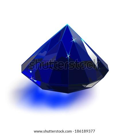 blue diamond on white background - stock vector