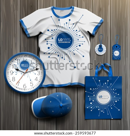 Blue digital promotional souvenirs design for corporate identity with optical fiber elements. Stationery set - stock vector