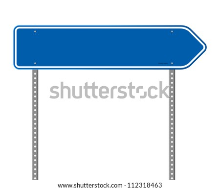 Blue Directional Road Sign - Blank destination sign with destination information - stock vector