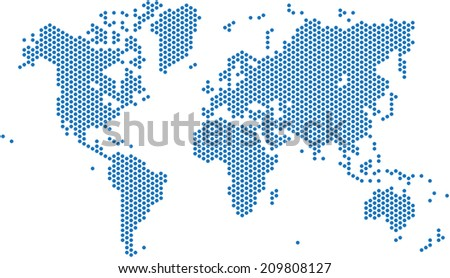 Blue dots world map on white background, vector illustration. - stock vector