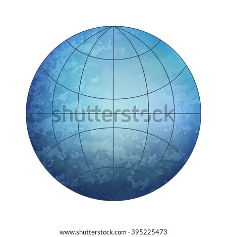 Blue Earth globe with grid and without continents - vector icon isolated on white background - stock vector