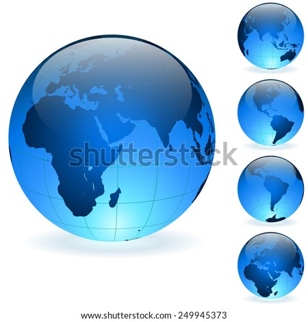 Blue Earth globes vector set isolated on white background. - stock vector
