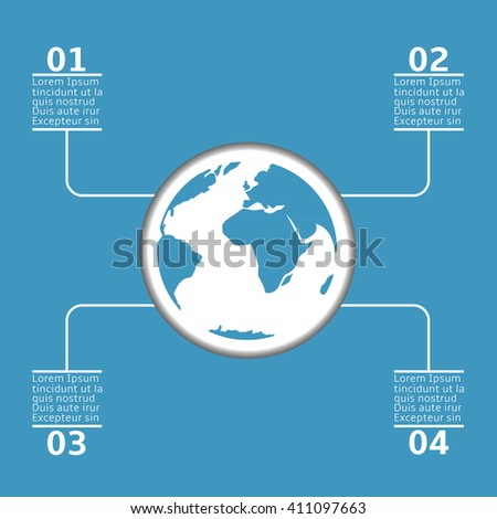 Blue earth infographic. World map. Blue abstract planet. Statistic and analytics - stock vector
