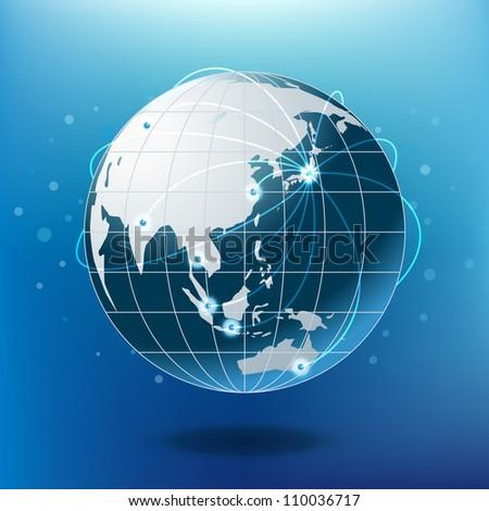 Blue earth, vector - stock vector