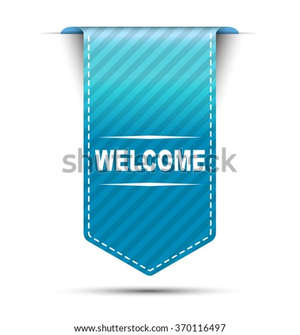 Blue easy vector illustration isolated ribbon banner welcome. This element is well adapted to web design. - stock vector