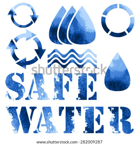 Blue eco poster, recycle signs and text - stock vector