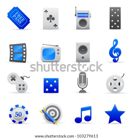 Blue Entertainment Icons Professional vector set of entertainment for your website, application, or presentation. The graphics can easily be edited colored individually and be scaled to any size - stock vector