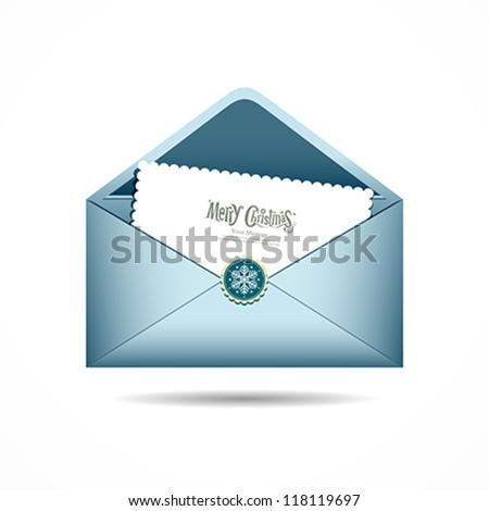 Blue Envelope letter Merry Christmas white card, Vector illustration - stock vector