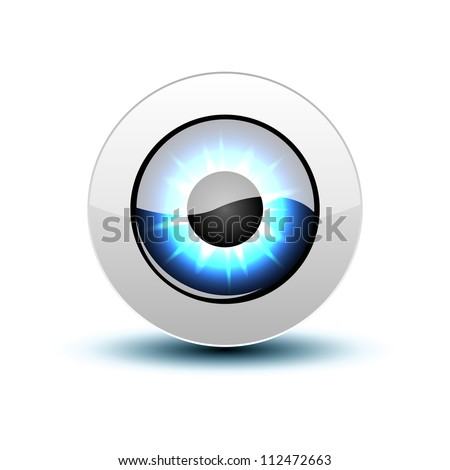 Blue eye icon with shadow on white, vector illustration, eps10 - stock vector