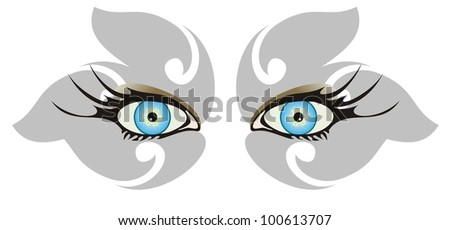 Blue eyes. Grey shadows in the form of a butterfly - stock vector