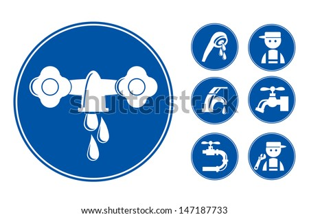Blue Faucet / Tap Icons Set, eps vector illustration - stock vector