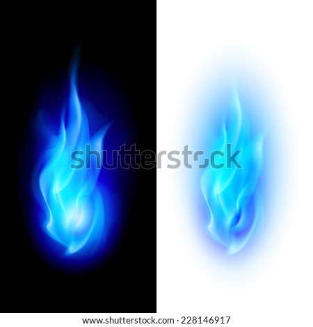 Blue fire flames over contrast black and white backgrounds - stock vector