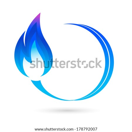 Blue fire icon - stock vector