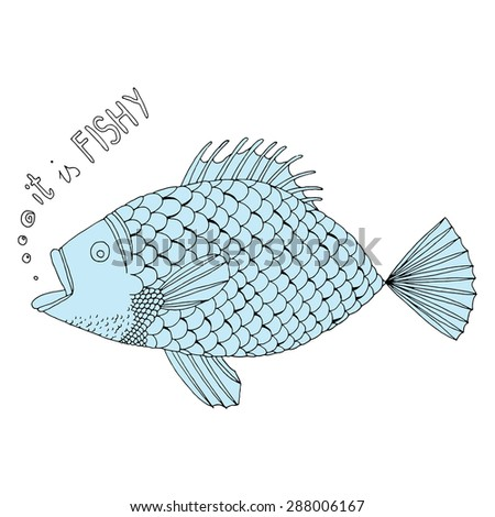 Blue fish on simple white background - stock vector