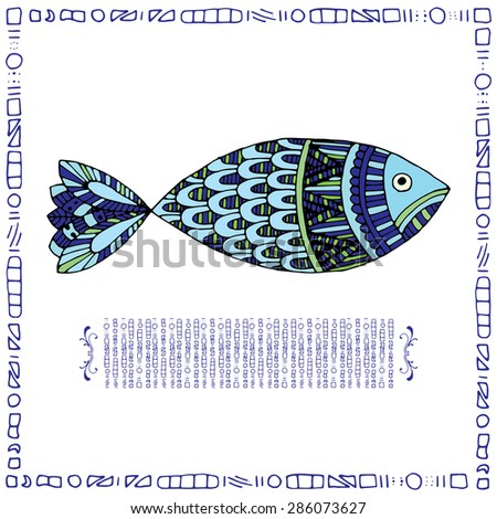 Blue fish on simple white background with blue frame - stock vector