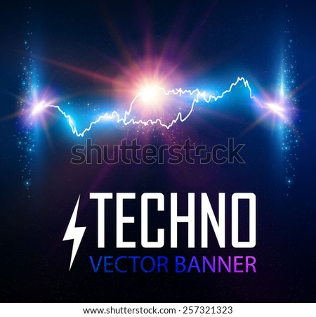 Blue flash light with lens effect. Vector illustration - stock vector