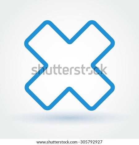 Blue flat style cancel sign on white background with shadow - stock vector