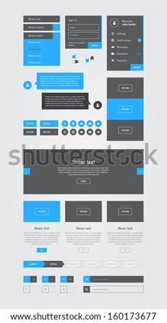 Blue Flat Web UI, Web Elements / EPS10 Vector Illustration / - stock vector