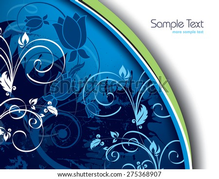 Blue Floral Background. - stock vector