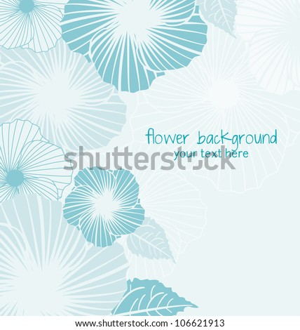 blue floral background with place for text - stock vector