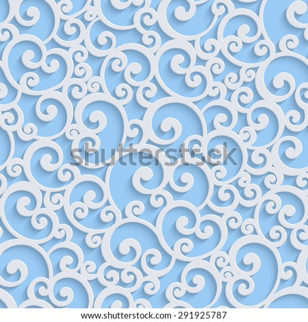 Blue Floral 3d Seamless Pattern Background. Vector Curl Decoration For Wallpaper or Invitation Card. Swirl Design - stock vector
