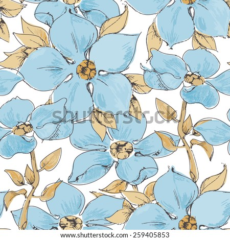 Blue flowers seamless pattern - stock vector