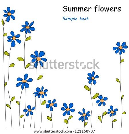 blue flowers, vector - stock vector