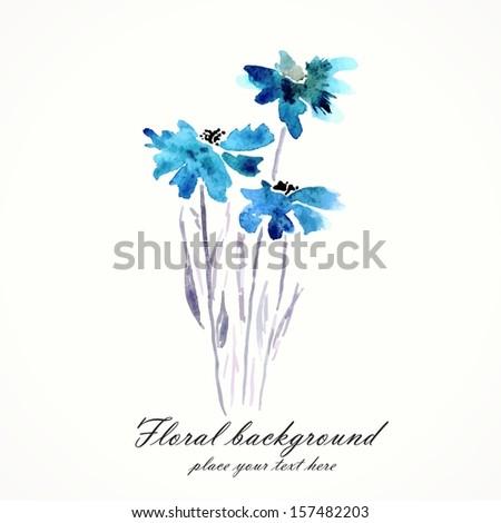 Blue flowers. Watercolor floral bouquet. Floral decorative element. Vector floral background. - stock vector