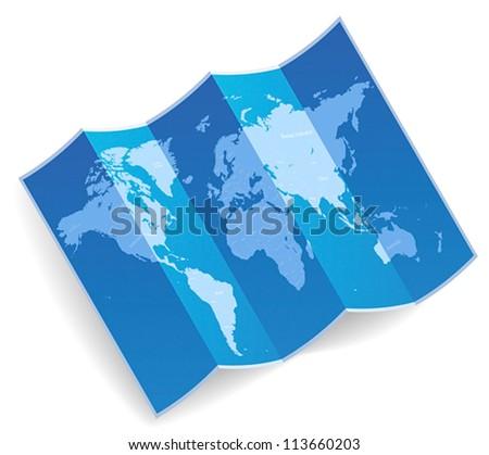 Blue folded world map. Vector illustration. - stock vector