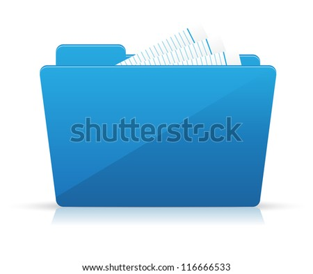 Blue folder icon - stock vector