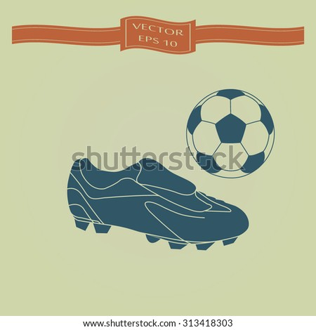 Blue Football boots - vector illustration with ball - stock vector