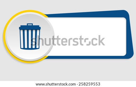 blue frame for text and symbol trashcan - stock vector
