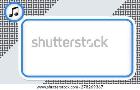 Blue frame for your text and music icon - stock vector