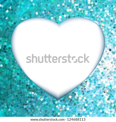 Blue frame in the shape of heart. EPS 8 vector file included - stock vector