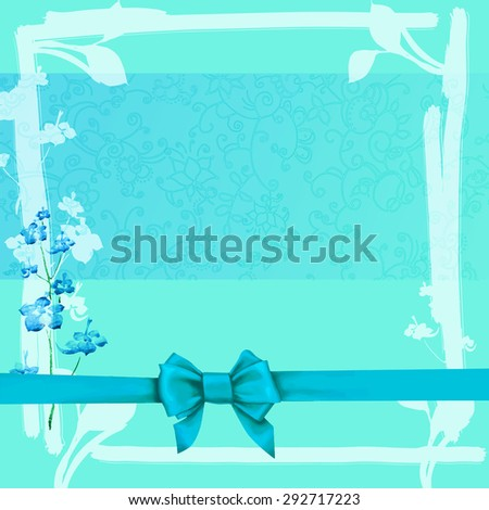 Blue frame with bow vector greeting - stock vector