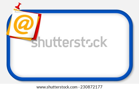 blue frame with pushpin and email icon - stock vector