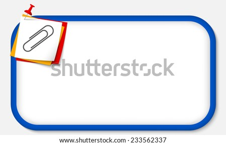 blue frame with pushpin and paper clip - stock vector