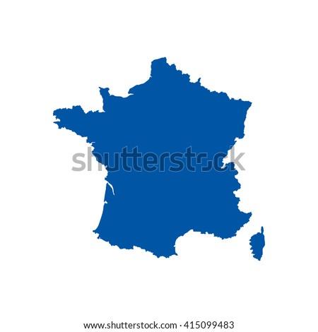Blue France map. France map blank. France map vector. France map flat. France map template. France map paper. France map infographic. France map clean. France map art. France map card. France map eps. - stock vector