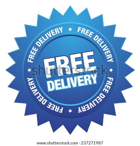 Blue free delivery button on white background - stock vector