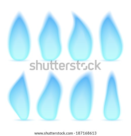 Blue gas flame, different shapes, isolated on white background, vector eps10 illustration - stock vector