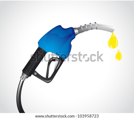 blue gasoline pump with drops over gray background. vector - stock vector