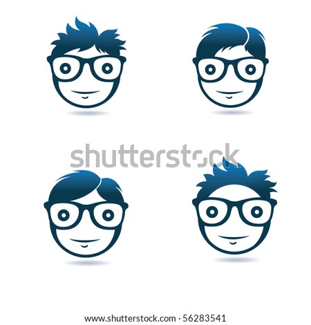 blue geek smiling faces - stock vector
