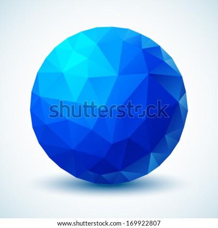 Blue Geometric Ball. Vector illustration.  - stock vector