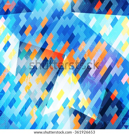 Blue geometric seamless pattern. - stock vector