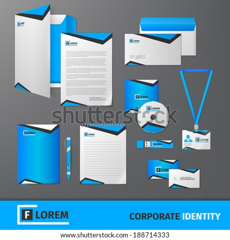 Blue geometric technology business stationery template for corporate identity and branding set isolated vector illustration - stock vector