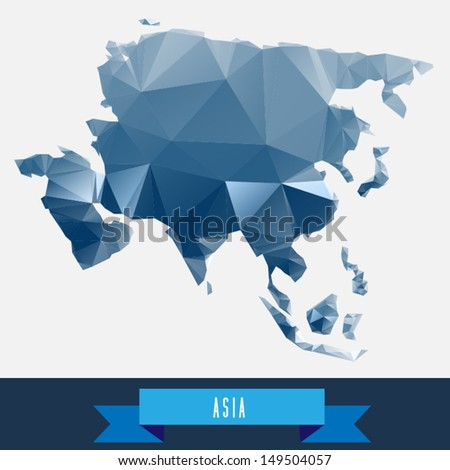 blue geometrical stylized asia map - stock vector