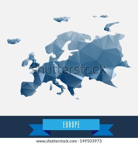 blue geometrical stylized europe map - stock vector