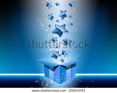 Blue gift box with stars. Editable Vector Image - stock vector