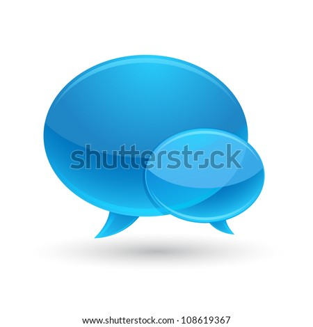 Blue Glass Speech Bubbles Icon - stock vector